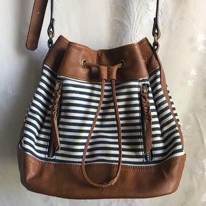 Sole Society Brown Navy Striped Bucket Bag